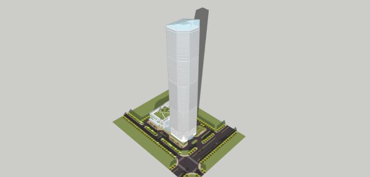 现代风格超高层办公楼房建筑模型设计