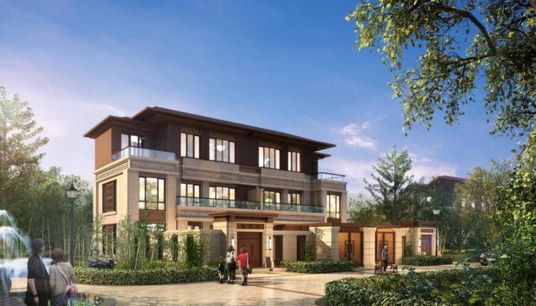 春泽斋新亚洲风格联排宽墅北入户建筑模型设计
