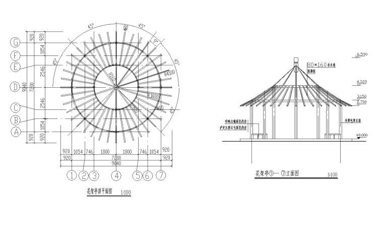 景观花架亭,花墙展开图CAD详图