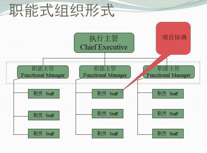 项目经理职责及项目组织结构培训(PPT)-职能式组织形式