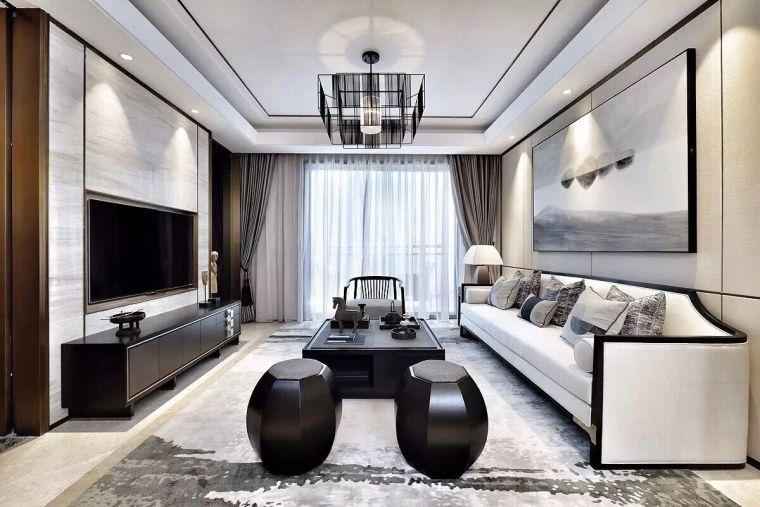 集艾设计南昌绿地象南中心样板房新中式客厅3D模型