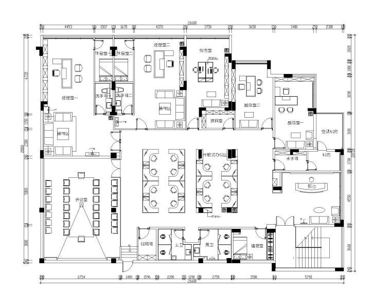 [江西]南康华瑞地产办公室设计施工图+设计说明+机电图+物料表