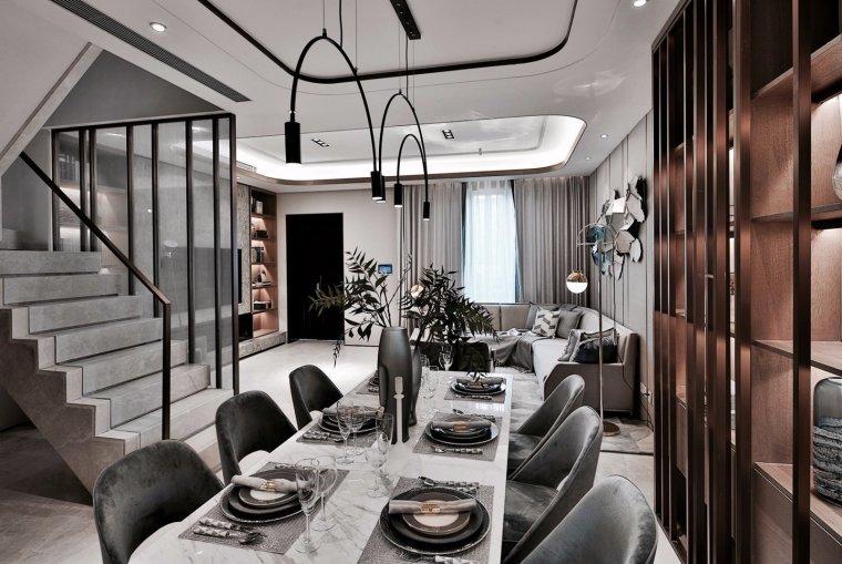 天津实地海棠雅著联排别墅样板间后现代卧室模型_客餐厅模型