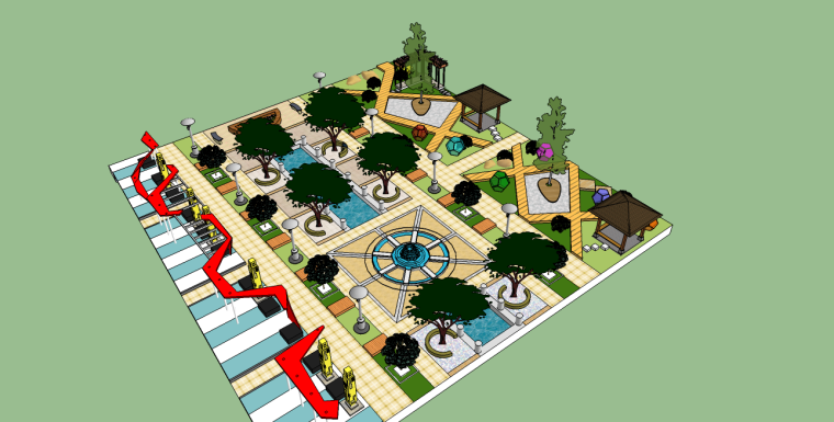 现代小广场景观SU模型