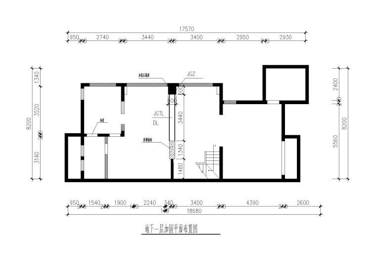 剪力墙别墅墙体拆除开窗洞新建楼板加固图-地下一层加固平面布置图