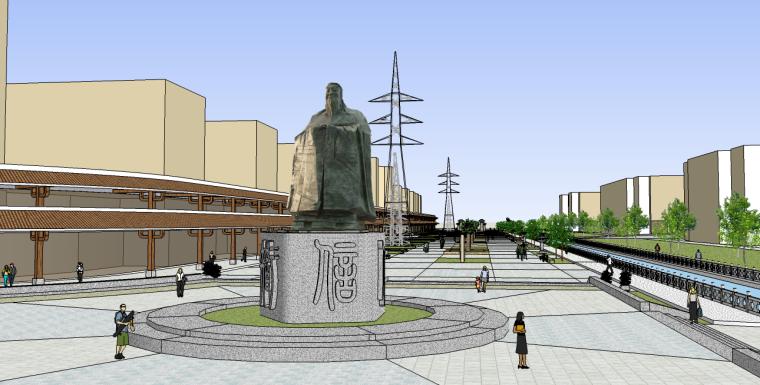 孔子街道广场景观SU模型