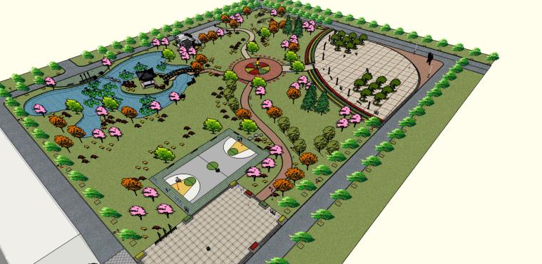 滨湖乐寿公园景观su模型(健身设施,公共卫生间,篮球场,雕塑)