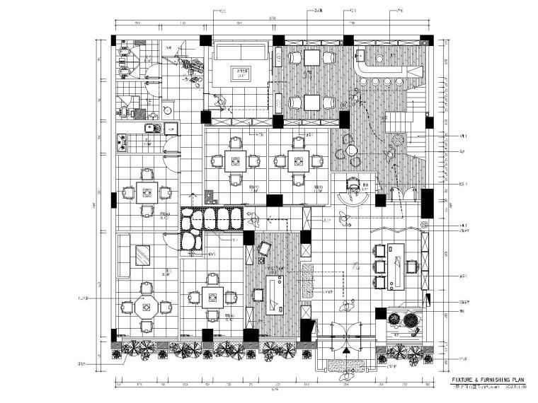 某地区天畝会所唐庄室内装修设计全套CAD施工图