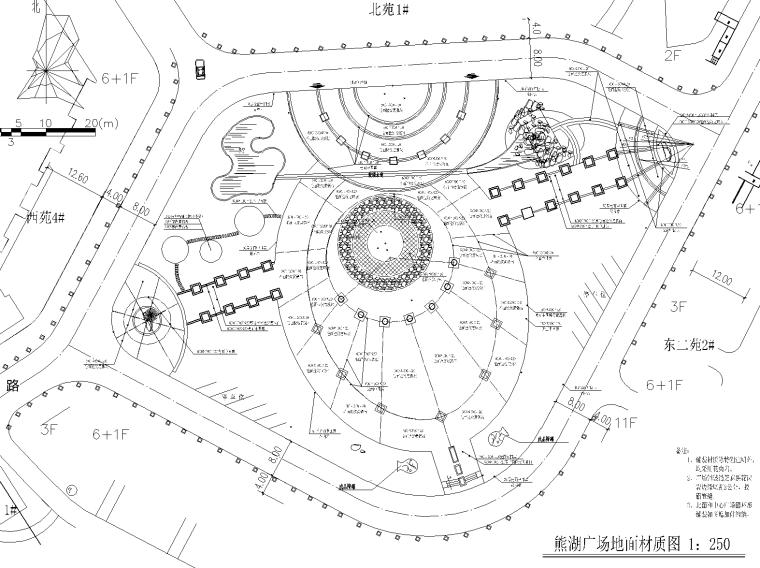熊湖广场CAD总平面图,广场平面石材质布置平面图
