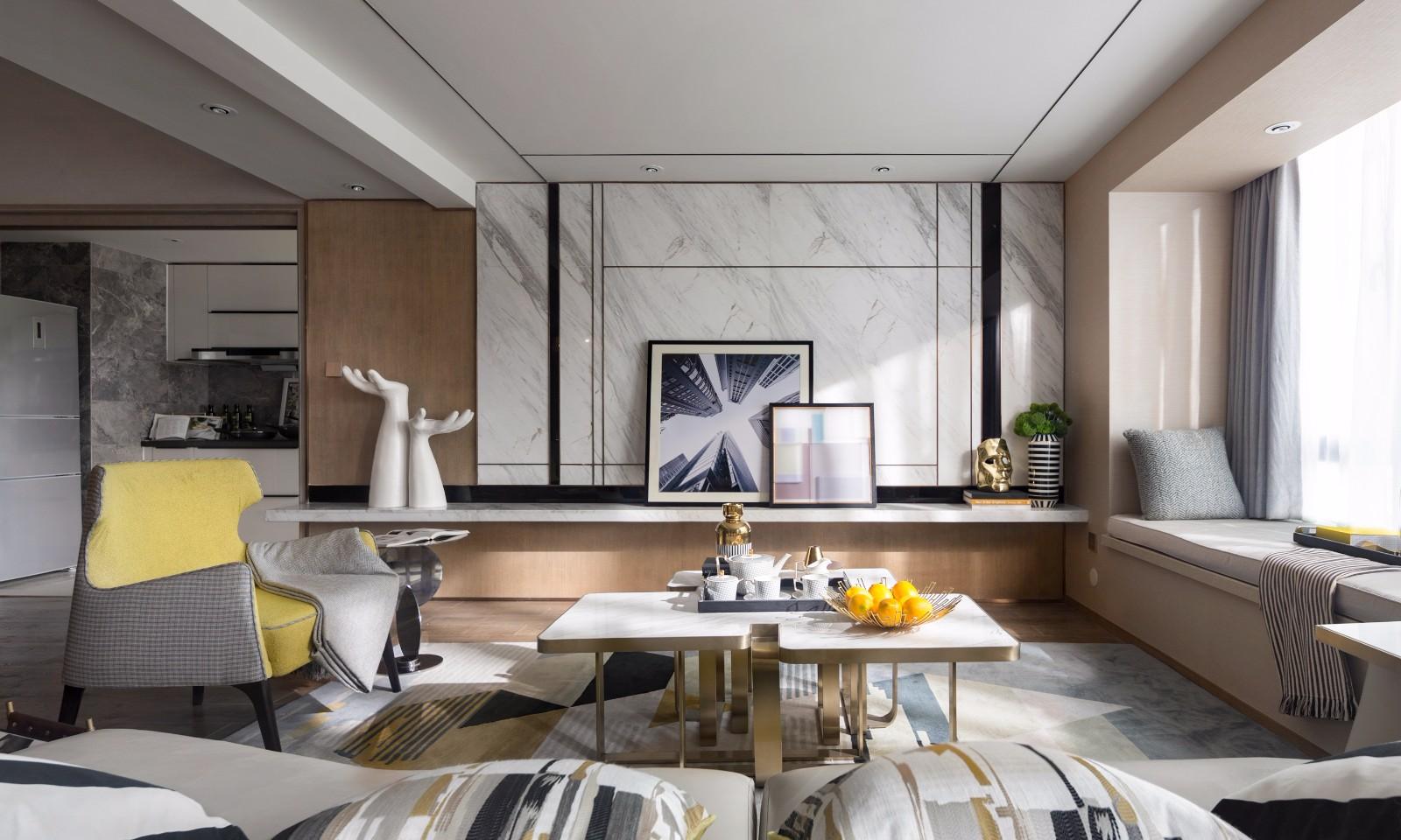 """集艾110㎡现代""""琥珀灰""""样板房-现代餐厅、客厅3D模型"""