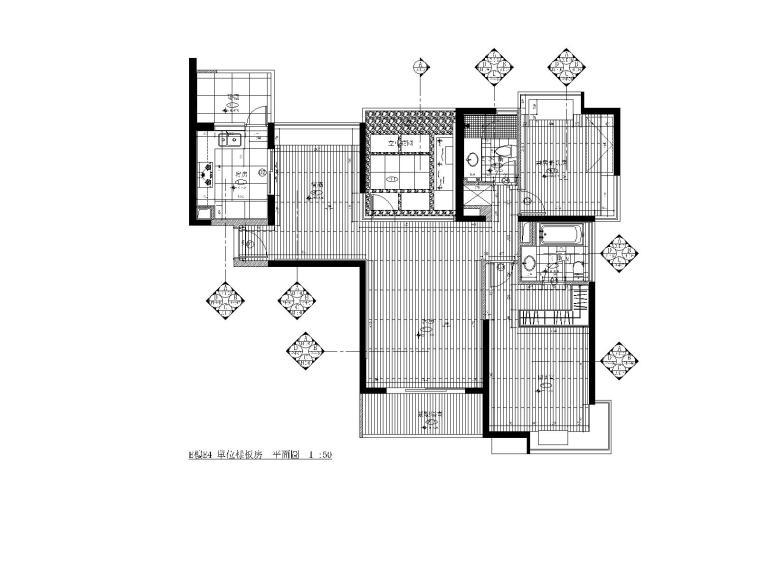 [上海]梁志天—浦东区上海滩花园E4样板房设计方案+CAD施工图
