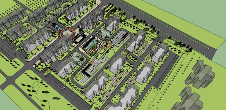居住小区景观-西安交大曲江新村景观规划设计su模型