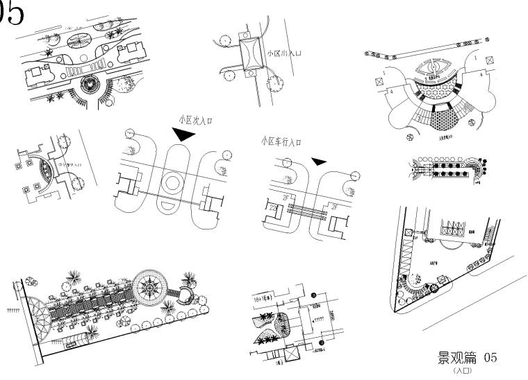 广场景观,小区入口,水溪,小花镜(花园)CAD平面图
