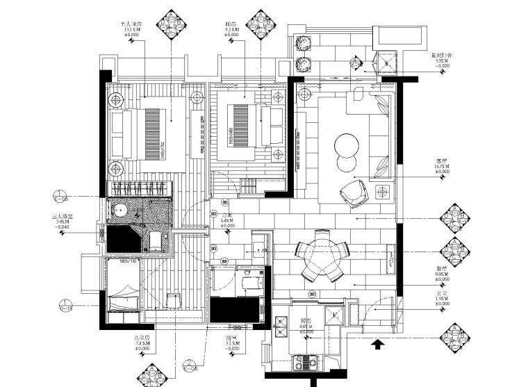 [广东]梁志天-中山雅居乐100㎡轻奢样板间丨全套施工图+深化设计方案+效果图+物料