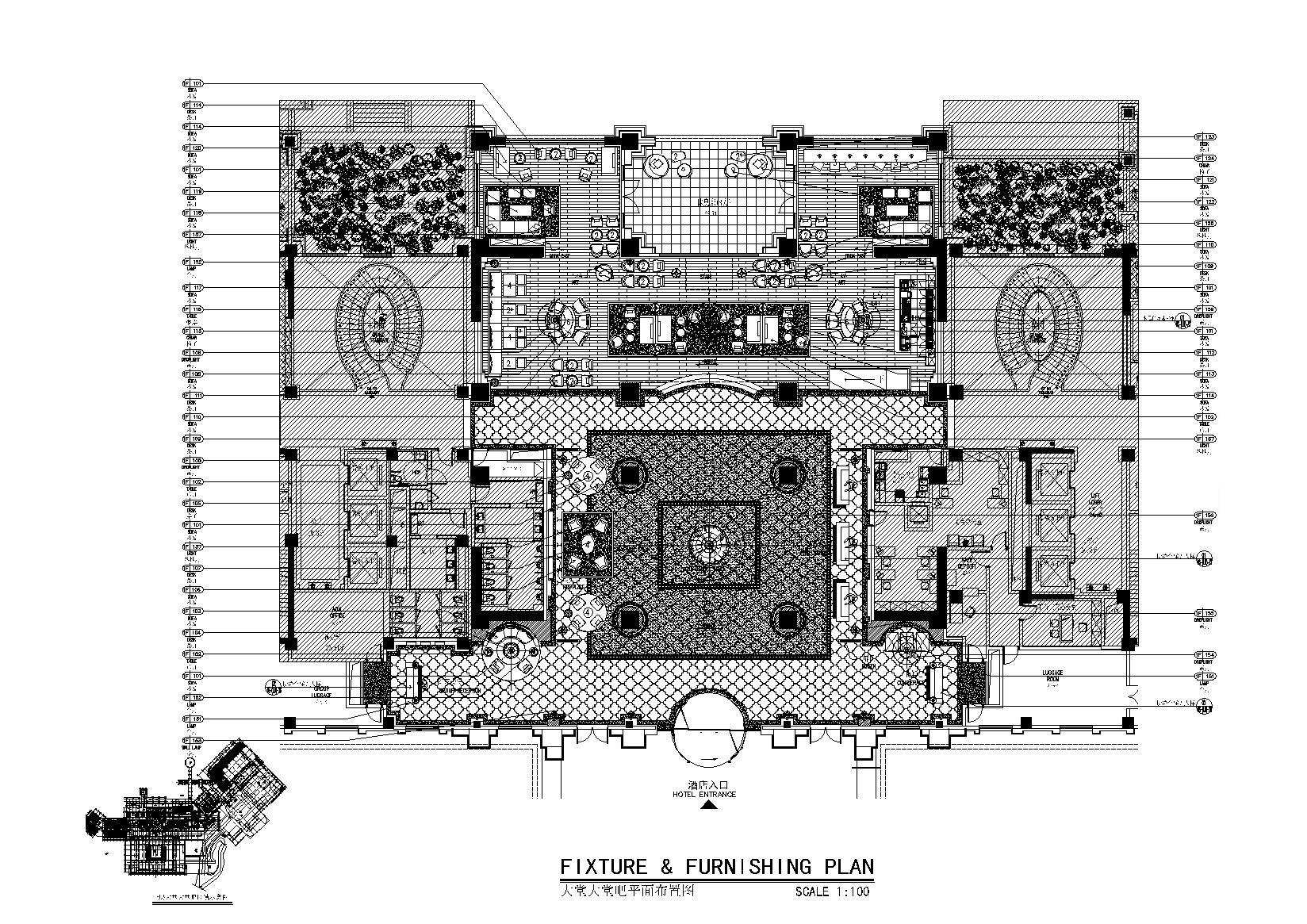 [云南]CCD-抚仙湖希尔顿酒店全套设计资料丨公区+客房CAD施工图(蓝图版)