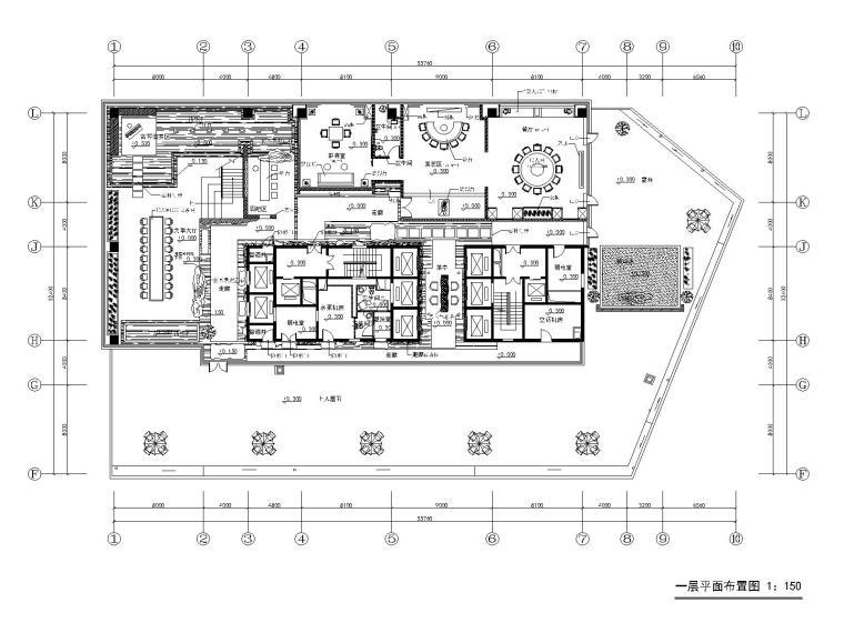 茶楼餐厅效果图资料下载-[内蒙古]鄂尔多斯金融广场K座茶楼施工图