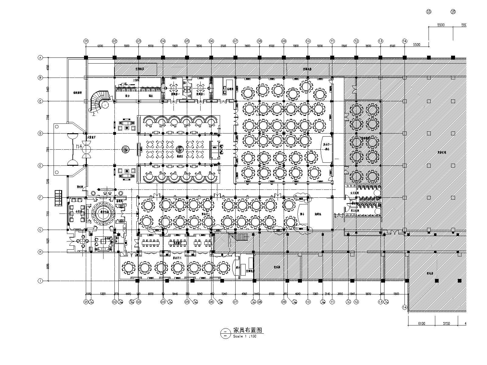 [上海]康业建筑-红子鸡大酒店一层装饰改建施工图+效果图