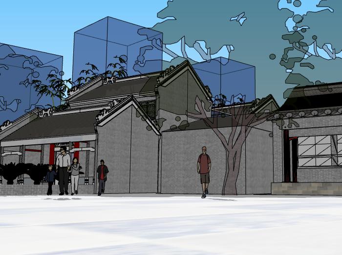 岭南风格展览馆建筑模型设计