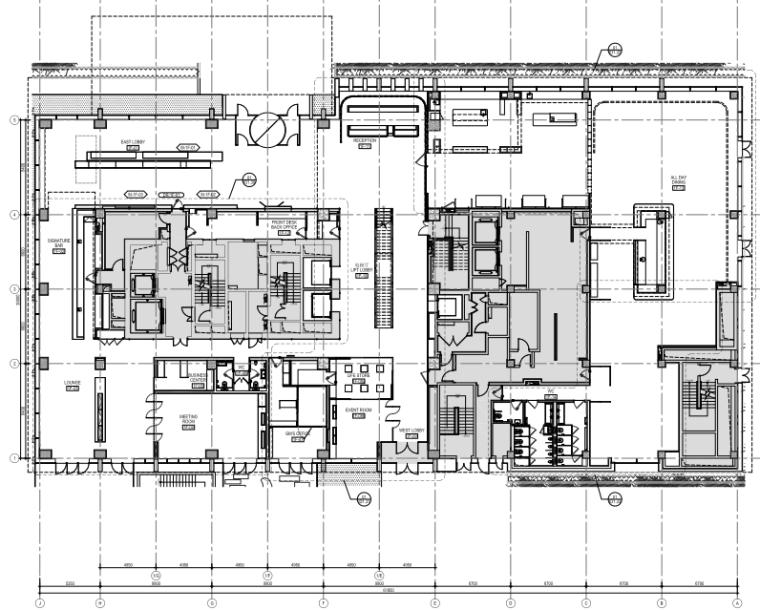 如恩设计-上海杨浦朗豪坊酒店室内装修全套CAD招标施工图