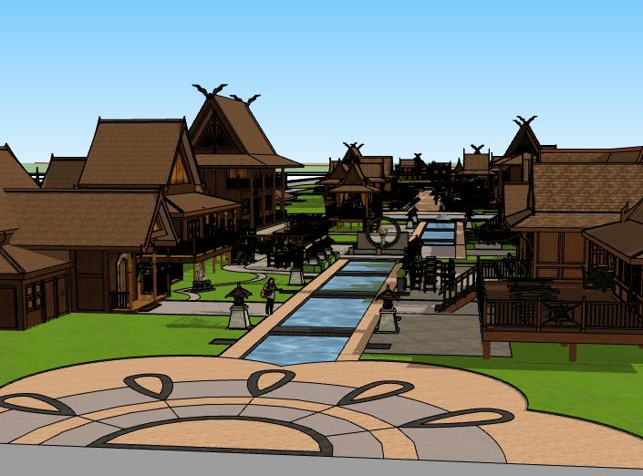 中式木结构建筑群模型设计