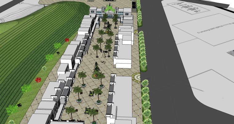 产业园服务区规划su模型