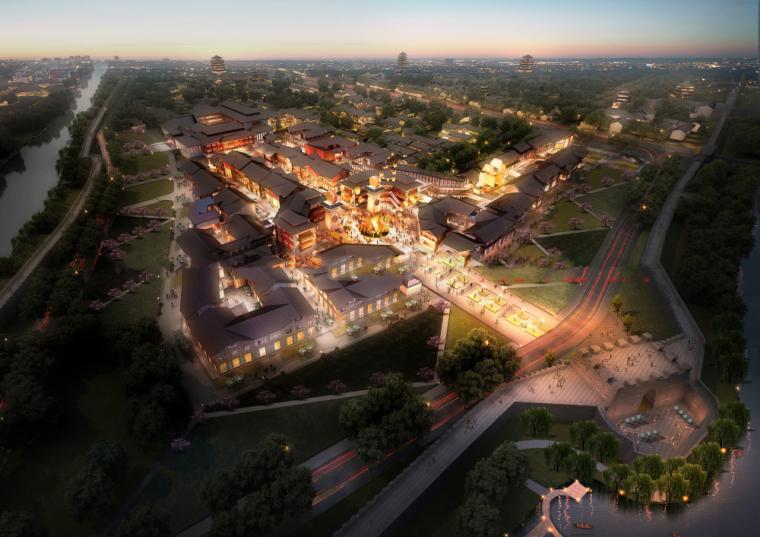 [湖北]荆州古城龙凤庄中式商业建筑模型设计