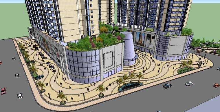 商业综合体景观su模型(含屋顶花园su模型)
