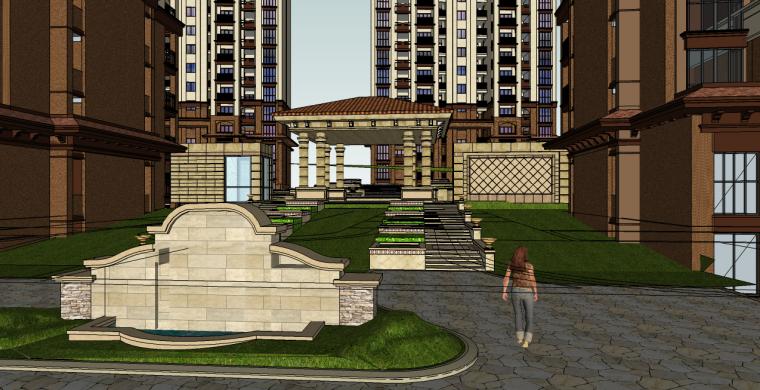 欧式住宅小区景观su模型