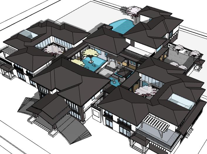 中式院落酒店建筑模型设计