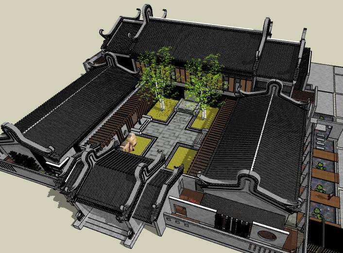 中式风格四合院建筑模型设计
