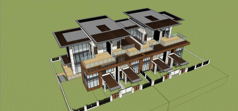 新亚洲风格联排别墅建筑模型设计(2018年)