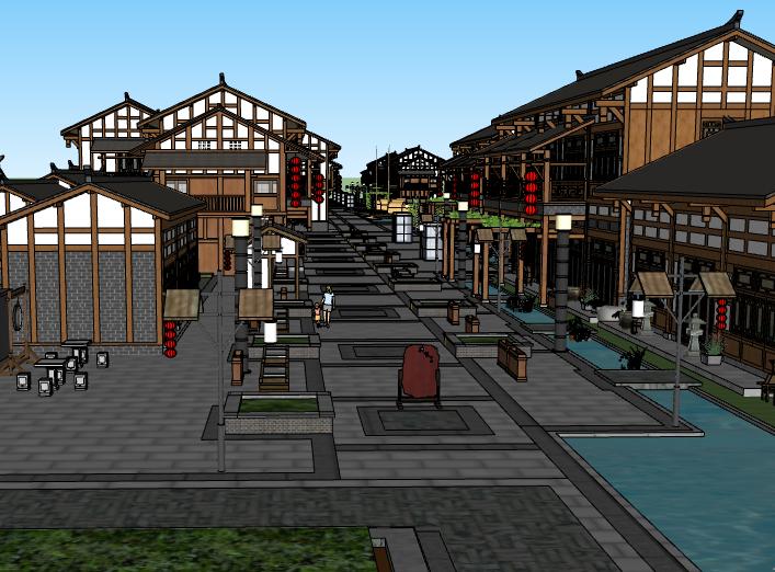 古典木质商业街建筑模型设计