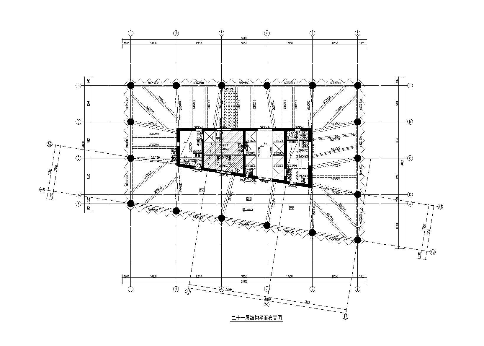 万科34层框架核心筒结构综合大厦结构施工图(含建筑施工图)