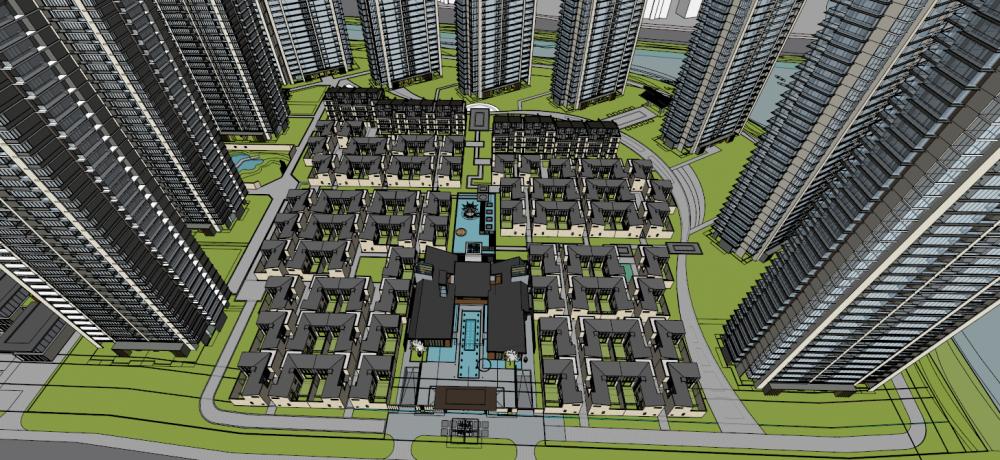 [湖南]长沙梅溪湖新亚洲风格高层+别墅?轻奢豪宅建筑设计