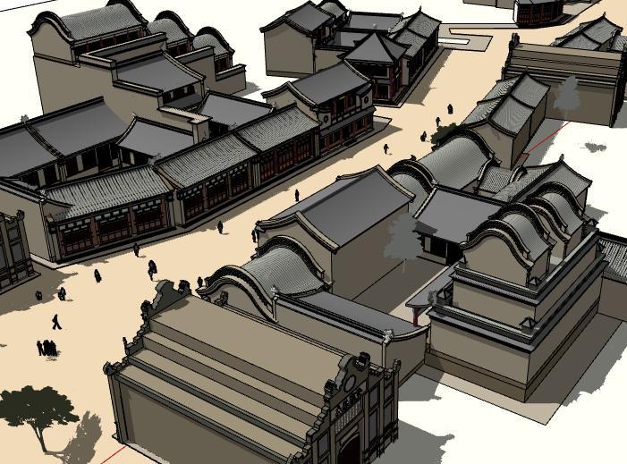 中式古镇建筑模型设计