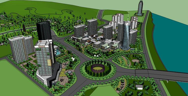 城市规划su模型|安康模型(山体景观)