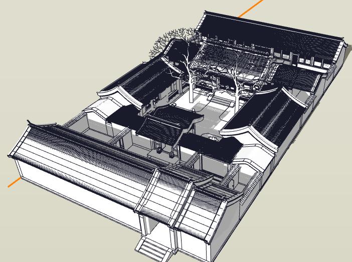 中式四合院建筑模型设计