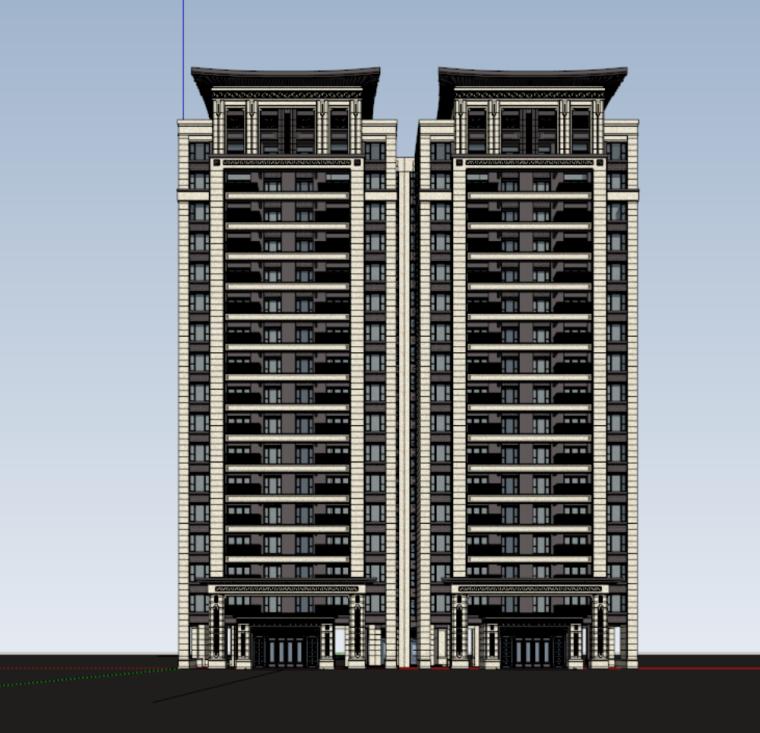 建发新中式高层建筑模型设计