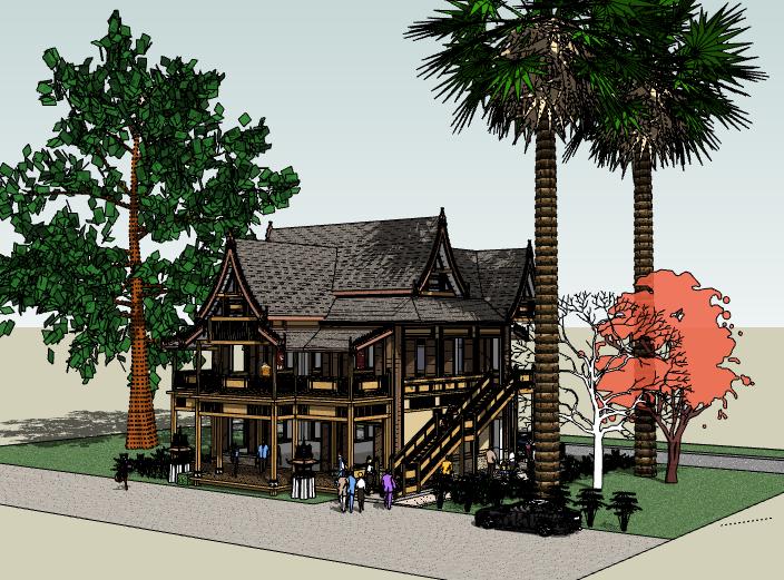 坡屋顶木屋建筑模型设计