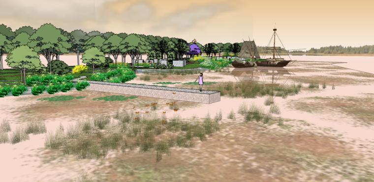 湿地公园景观su模型