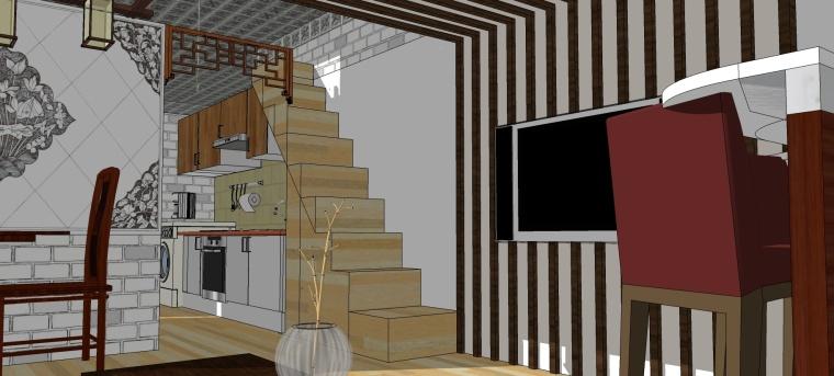 中式风格家装SU室内模型设计