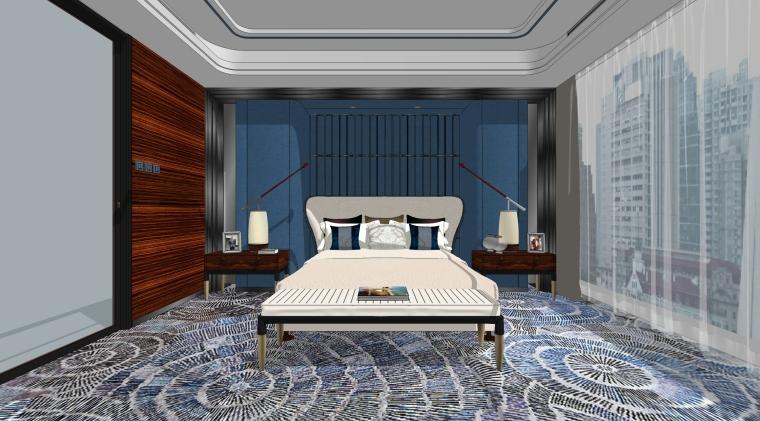 现代新中式轻奢家装样板房卧室房间场景设计(SU2019)