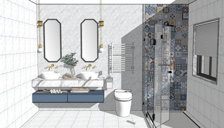 轻奢室内卫生间卫浴洁具浴室柜家具全套草图大师设计素材库