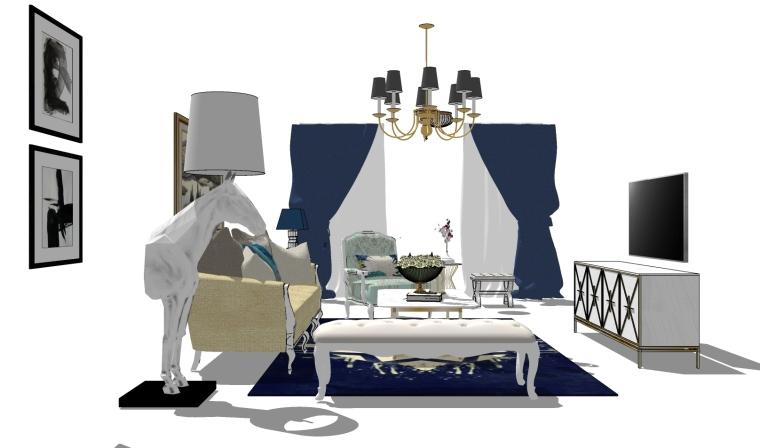 室内设计家装装修全屋简欧欧式床沙发桌椅软装家具模型
