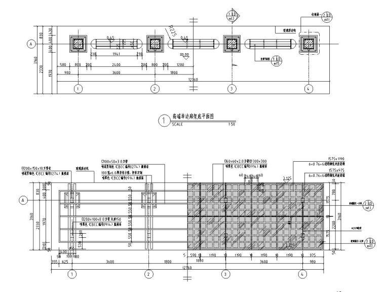 景观细部施工 高端单边廊架施工图