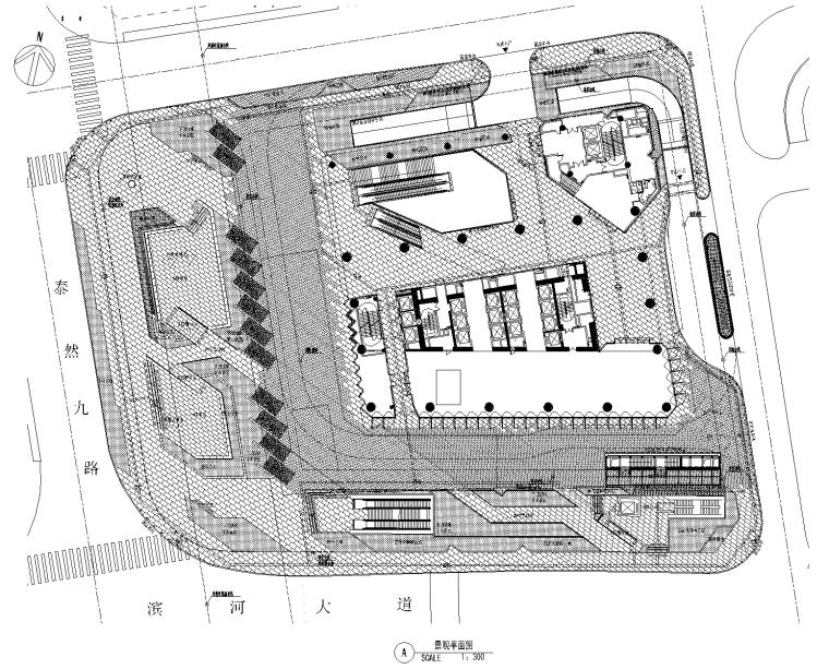 [深圳]万科滨海置地大厦景观全套CAD施工图(含屋顶花园景观)