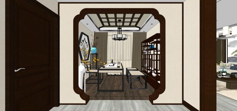 新中式风格家装SU室内模型设计