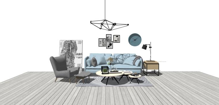 现代轻奢风格客厅家具模型设计(10套)