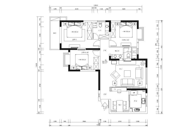 [南京]金陵天成广场三居室样板房全套CAD施工图+实景拍摄