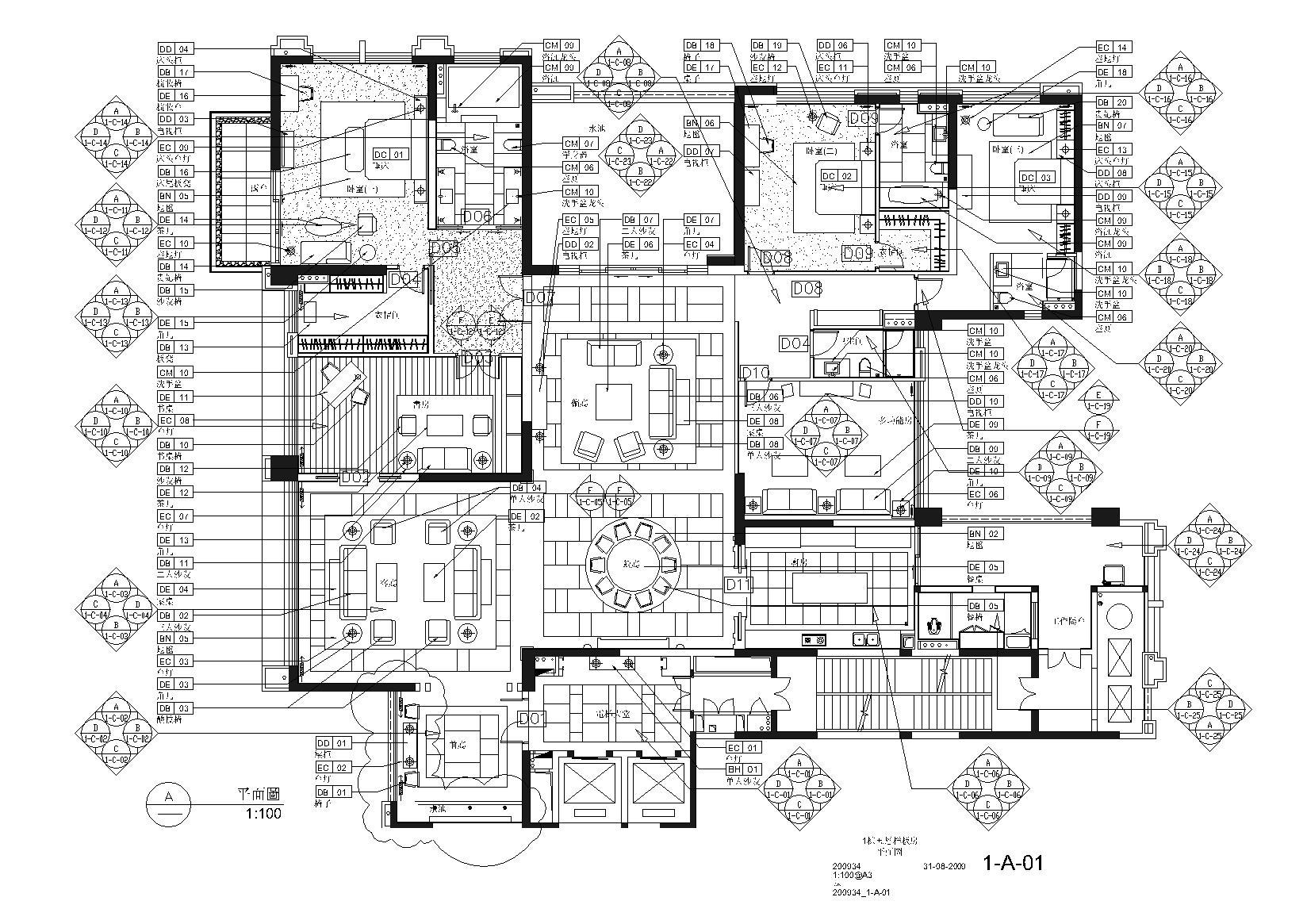 [广东]梁志天-广州雅居乐科学城公寓三居室全套施工图+实景摄影